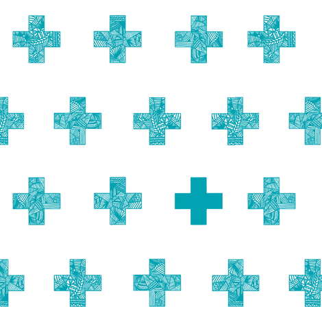 teal crosses on white fabric by nuzzle_baby on Spoonflower - custom fabric