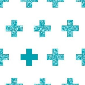 teal crosses on white