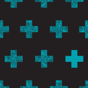 teal crosses on black