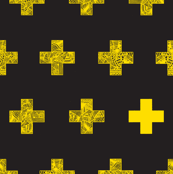 yellow crosses on black