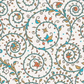 Medieval, pattern, swirl, beige, color, floral, multicolor