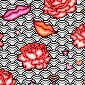 Pattern, roses, red, ribbon, flovers, funky