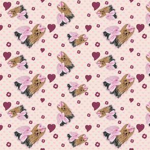 Yorkie Savannah Pink Hearts