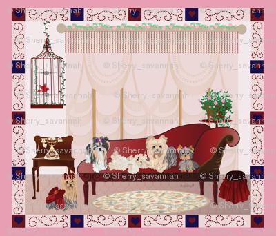 Yorkies Victorian Room Panel 4- pillow fronts