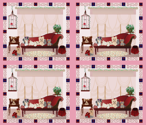 Yorkies Victorian Room Panel 4- pillow fronts fabric by sherry-savannah on Spoonflower - custom fabric