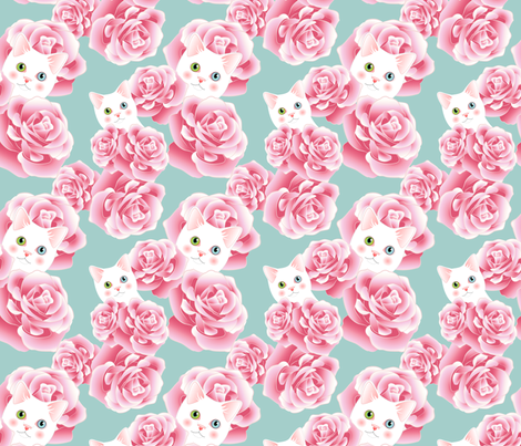 Bouquet of Kitties - Aqua Flavor fabric by bliss_and_kittens on Spoonflower - custom fabric