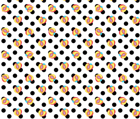 Peaches & Polkadots White fabric by magic_circle on Spoonflower - custom fabric