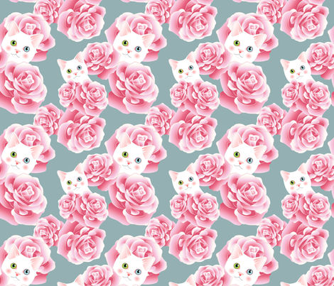 Bouquet of Kitties - Teal Flavor fabric by bliss_and_kittens on Spoonflower - custom fabric