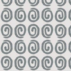 block print 9 - spiral - grey