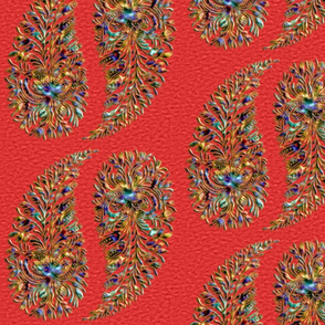 rainbow_paisley_textured_red