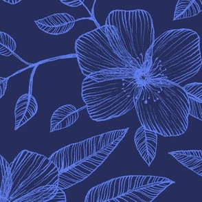 Blue on Blue Line Drawing Floral Pattern
