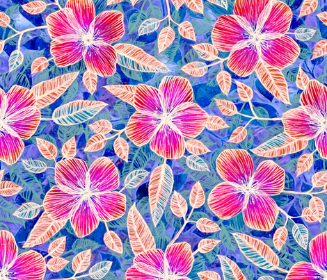 Magenta Blossoms on Blue fabric by micklyn on Spoonflower - custom fabric