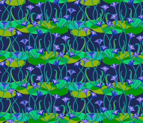 Midnight in the Lotus Garden fabric by elramsay on Spoonflower - custom fabric