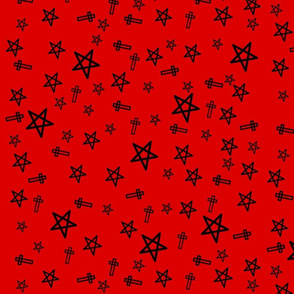 Black Stars And Crosses On Red
