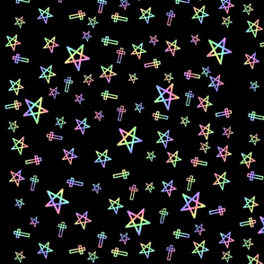 Pastel Stars And Crosses On Black