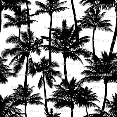palm trees - black and white, small. black palm tree silhuettes white background black and white monochrome tropical palm leaves summer tropical forest plant hot sunset pattern fabric wallpaper giftwrap