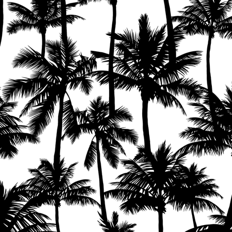 palm trees - black and white, small. black palm tree silhuettes white background black and white monochrome tropical palm leaves summer tropical forest plant hot sunset pattern fabric wallpaper giftwrap fabric by mirabelleprint on Spoonflower - custom fabric