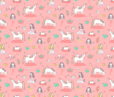 Unicorns and mermaids on the pond fabric by kostolom3000 on Spoonflower - custom fabric
