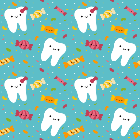 Happy Teeth and Candy Party! fabric by clayvision on Spoonflower - custom fabric