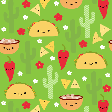 Happy Tacos and Friends Green fabric by clayvision on Spoonflower - custom fabric