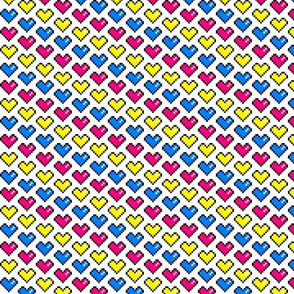 Pixel Hearts (pink, yellow, blue)