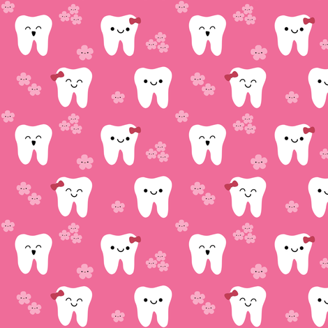 Happy Teeth and Flowers fabric by clayvision on Spoonflower - custom fabric