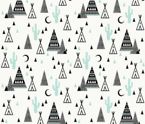 tipi mint - southwest baby mint grid trendy teepee cactus triangle hipster design fabric by charlottewinter on Spoonflower - custom fabric