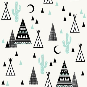 tipi mint - southwest baby mint grid trendy teepee cactus triangle hipster design