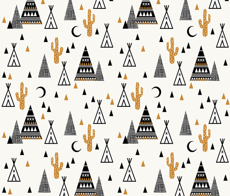 tipi sand - southwest baby cactus teepee trendy hipster grid design fabric by charlottewinter on Spoonflower - custom fabric