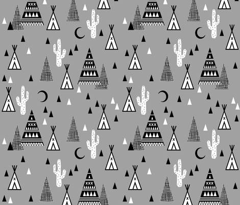 night time tipi - southwest cactus trendy baby design greyscale black and white grid fabric by charlottewinter on Spoonflower - custom fabric
