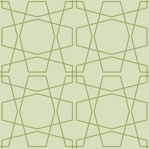 Pale Green Geometric Hexagon