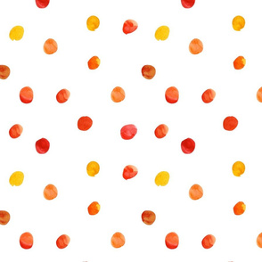 Watercolor Dots in Orange, Red and Yellow