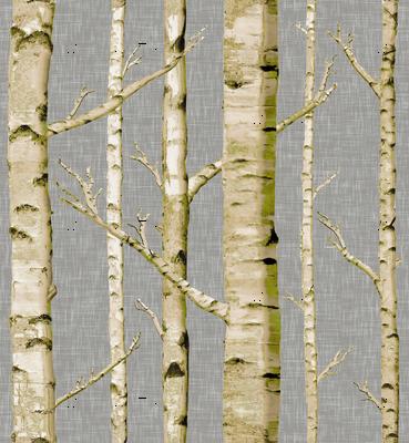Mossy Birch on Gray Linen