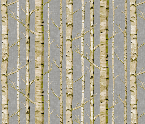 Mossy Birch on Gray Linen fabric by willowlanetextiles on Spoonflower - custom fabric