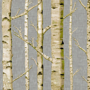 Mossy Birch on Gray Linen