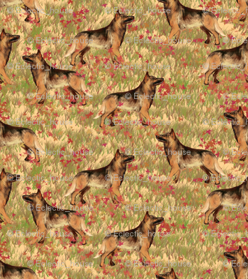 German Shepherd Dogs In Autumn Leaves Fabric Eclectic