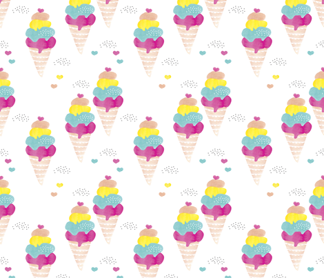 Colorful summer ice cream cone fun trendy kids water color illustration holiday print fabric by littlesmilemakers on Spoonflower - custom fabric