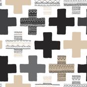 Gender neutral beige plus sign plus cross geometric modern aztec patterns