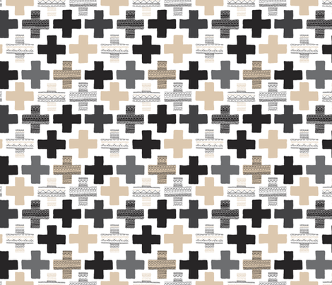 Gender neutral beige plus sign plus cross geometric modern aztec patterns fabric by littlesmilemakers on Spoonflower - custom fabric
