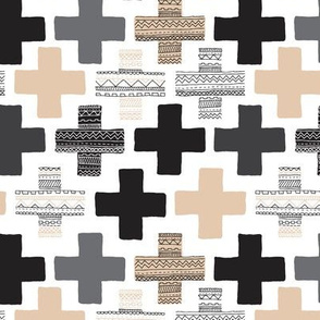 Gender neutral beige plus sign plus cross geometric modern aztec patterns