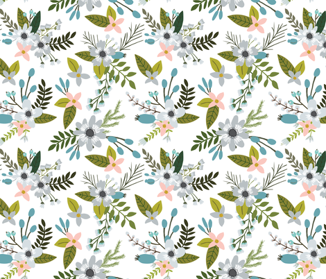 sprigs and blooms // silver // oversized fabric by ivieclothco on Spoonflower - custom fabric