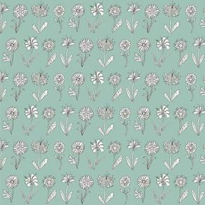 flower doodle - aqua