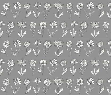 Flower doodles - grey fabric by rachelmacdonald on Spoonflower - custom fabric