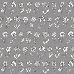 Flower doodles - grey