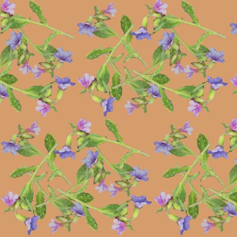 pulmonaria flowers scattered fabric by rosefiber on Spoonflower - custom fabric