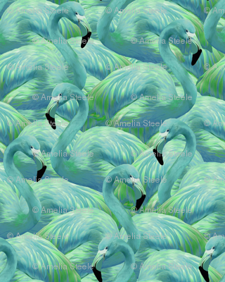 Flamingo Fever in Blue and Green