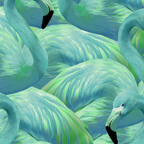Flamingo Fever in Blue and Green fabric by willowlanetextiles on Spoonflower - custom fabric