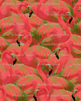 Flamingo Fever In Kiwi Fabric Willowlanetextiles