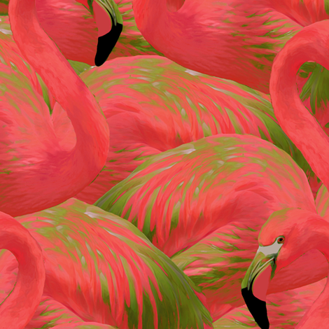 Flamingo Fever in Kiwi fabric by willowlanetextiles on Spoonflower - custom fabric