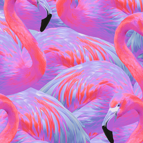 Flamingo Fever in Tropical Paradise fabric by willowlanetextiles on Spoonflower - custom fabric